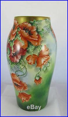 Antique T&V Limoges Hand Painted Orange Poppy Artist Signed Porcelain Tall Vase