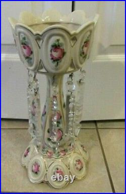 Antique Tall Glass Crystal Mantle Luster White Hand Painted Cabbage Roses 13.5