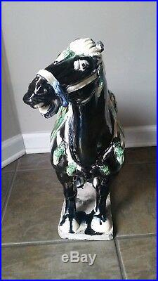 Antique Tang Dynasty Style Horse Statue Sculpture 18.5 tall OLD