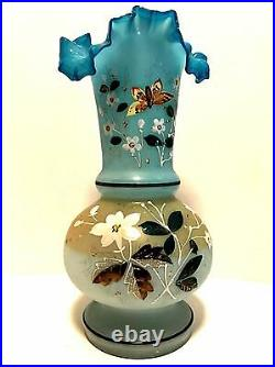 Antique Vase Flowers Butterfly Ruffled Top Mouth Blown Hand Painted 11.5 Tall