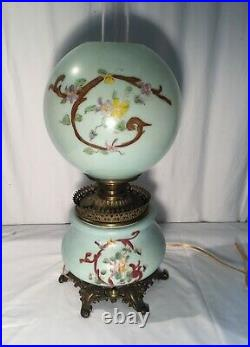 Antique Victorian Green Hand Painted Gone with the Wind Lamp 22.5 Tall
