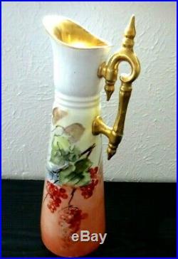 Antique Vienna Austria Rare & Beautiful Hand Painted Pitcher 14 1/4 Tall