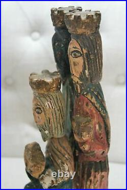 Antique Vintage Carved Hand Painted Wood Three Kings Wisemen Nativity 13 Tall