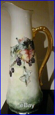 Antique/Vintage Pitcher Signed Numbered 13 Tall Porcelain Hand Painted c1800's