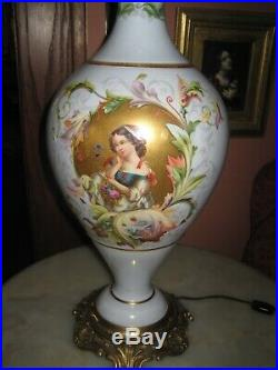 Antique lamp Old Paris Porcelain Lamp Hand Painted Gilded Background 34 Tall