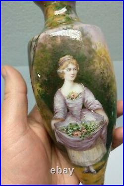 Antique wonderful bronze enamel vase GAMET Frane 8 tall hand painted lady lake