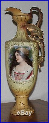 Antique1890 Royal Austrian Porcelain Bust Portrait Vase 20 tall, Hand Painted