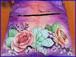 Anuschka Hand Painted Leather Tall Tote With Braided Handle Lucious Lillac-nwt