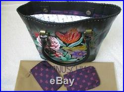 Anuschka Vintage Bouquet Hand Painted Leather Tall Tote With Double Handle Nwt