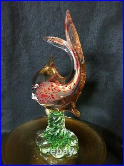 Archimede Seguso Venetian Murano Hand Blown Paradise Fish Sculpture 11 7/8 Tall
