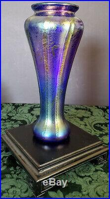 Art Glass By Tom Philabaum Hand Blown Cobalt & Iridescent Tall Fine Studio Vase