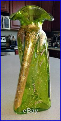 Art Glass MOSER Unique Rare Blown Twisted Vase Enameled & Gold 12 Tall & fine