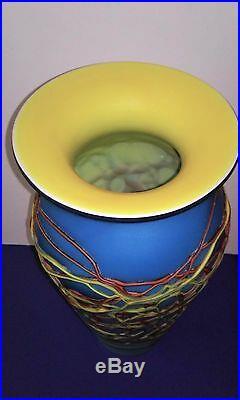 Azerbaijan Russian Glass Vase 14 Tall Multi-Color Swirls Design