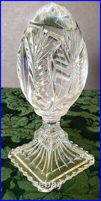 BACCARAT like Egg on a pedestal Paperweight Deco Object 1950's tall heavy fine