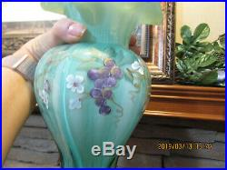 BEAUTIFUL FENTON WILLOW GREEN VASE With FLOWERS HAND PAINTED & SIGNED 9 1/2 TALL