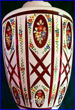 BOHEMIAN MOSER 34TALL LUSTER LAMP With SHADE WHITE CUT-TO-CRANBERRY. HAND PAINTED