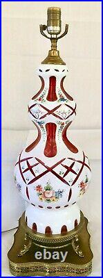 BOHEMIAN MOSER 37TALL LUSTER LAMP With SHADE WHITE-CUT-TO-CRANBERRY HAND PAINTED