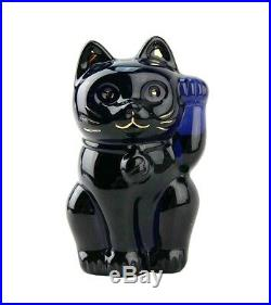 Baccarat Maneki Neko Lucky Cat Midnight Crystal Figurine 4 Tall New Orignl Box