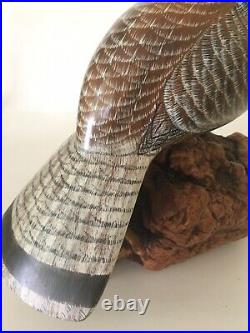 Beautiful 13 Tall Wood Carved & Hand Painted Quail on Burl Wood by Wanda White