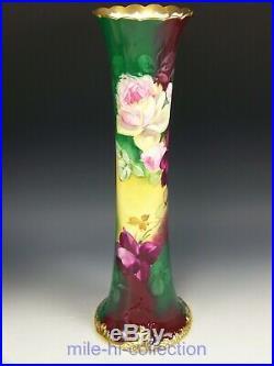 Beautiful Belleek Artist E. Challinor Hand Painted Roses Tall 16 Vase