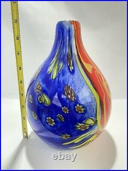 Beautiful Murano Millefiori Style Art Glass Vase Orange, Blue, & yellow 9in Tall