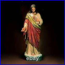 Beautiful Statue The Sacred Heart of Jesus 62 tall Hand Painted Fiberglass