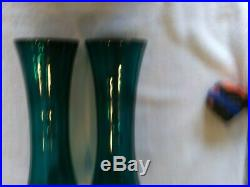 Beautiful Tall Teal Green Mary Gregory Vases