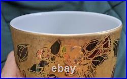 Bjorn Wiinblad for Rosenthal Studio-Linie Gold Porcelain Tall Handpainted Vase