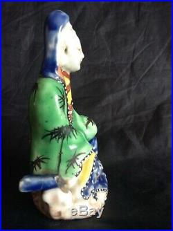 Blanc De Chine 18th c Kangxi-Yongzheng Enamelled Dehua Guan Yin 10cm tall