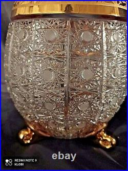 Bohemia Crystal Hand Cut 11'' Tall Vase decorated gold and engraving