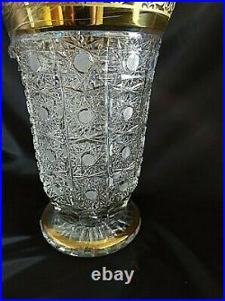 Bohemia Crystal Hand Cut 12'' Tall Vase decorated gold and engraving