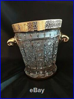 Bohemia Crystal Hand Cut 8'' Tall ice bowl decorated gold and engraving