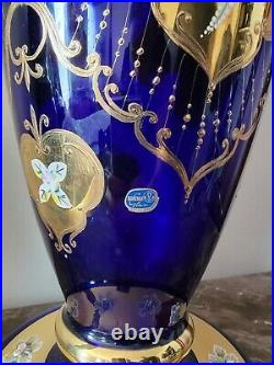 Bohemia Czech Gold Encrusted & Enamel Cobalt Blue Crystal Vase 23.5 Tall