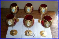 Bohemian Cranberry Gold Enamel Painted Tall 8.5 Wine Hock Goblets Lot of 6