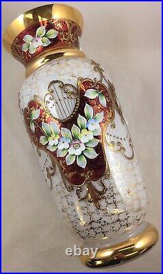 Bohemian Czech Gilt Gold & White Glass Vase Applied Enamel Flowers 11¼ Tall