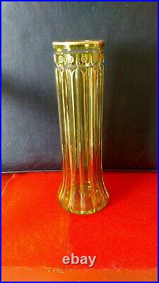 Bohemian Lead Glass Vase 12 Tall Green and Gold Josephinenhutte