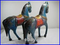 Bohemian Style Horse Statues Wooden Hand Crafted Multi-Colored 19'' Tall 9.5 Lbs