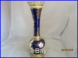 C1890's Coalport Hand Painted Ribbed Rim Tall Vase