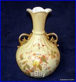 C1905 R W Rudolstadt Germany Hand Painted Florals Art Nouveau Tall Ornate Vase