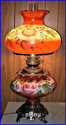 Captivating Antique Large GWTW Lamp with Hand Painted Roses 29-1/2 Tall