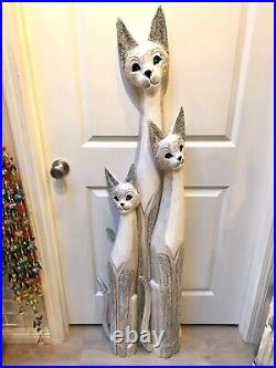 Cat Tall Statue Wood Carved Set of 3 With Hand Painted Body Solid Wood ZENDA