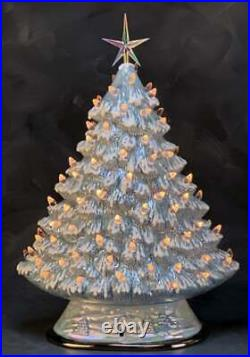 Ceramic Bisque Hand-Painted 13 Tall Christmas Tree With Scene Base