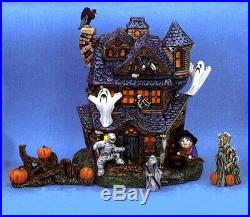 Ceramic Bisque Hand-Painted Large Haunted House With Accessories, 13.25 Tall