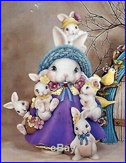 Ceramic Bisque Hand-Painted Mama Bunny With Babies, 17 1/2 Tall