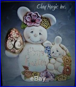 Ceramic Bisque Hand-Painted Mama Bunny With Egg Arm, 15.5 Tall X 14 Wide