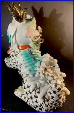 Chinese Foo Dog Dragon Male Porcelain With Gold Inlay 10 Long 9 Tall