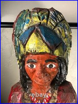 Cigar Store Indian chief Hand Carved Wood Painted 24.5 tall Vintage