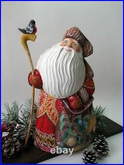 Collectible Russian Santa, Big red coat Sata with the bird, 11 inch tall