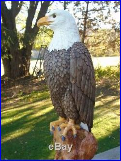 Concrete Statue American Bald Eagle 21 tall, Hand Painted, Made in the USA