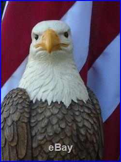 Concrete Statue American Bald Eagle 21 tall, SALE Hand Painted, Made in the USA